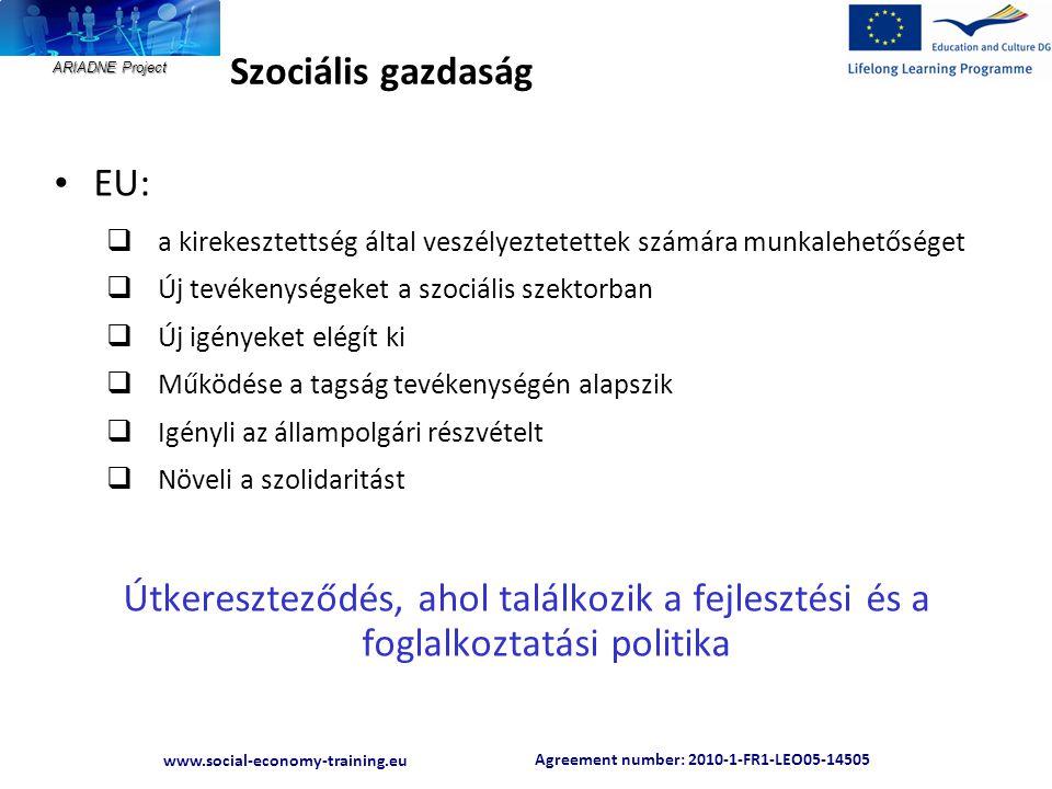 Agreement number: 2010-1-FR1-LEO05-14505 www.social-economy-training.eu ARIADNE Project Szociális gazdaság • EU:  a kirekesztettség által veszélyezte