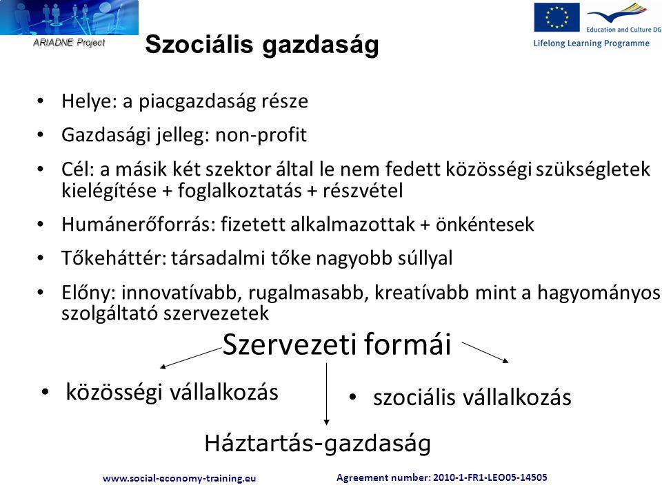 Agreement number: 2010-1-FR1-LEO05-14505 www.social-economy-training.eu ARIADNE Project Szociális gazdaság • Helye: a piacgazdaság része • Gazdasági j