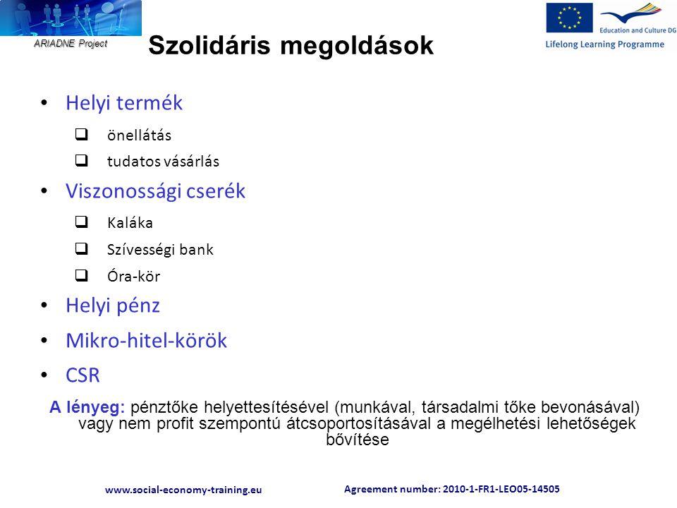 Agreement number: 2010-1-FR1-LEO05-14505 www.social-economy-training.eu ARIADNE Project Szolidáris megoldások • Helyi termék  önellátás  tudatos vás
