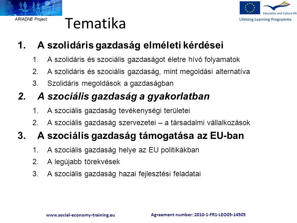 Agreement number: 2010-1-FR1-LEO05-14505 www.social-economy-training.eu ARIADNE Project Tematika 1.A szolidáris gazdaság elméleti kérdései 1.A szolidá