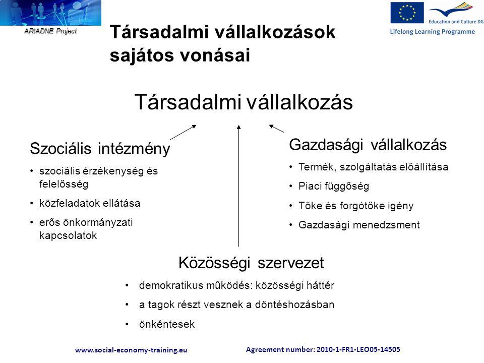 Agreement number: 2010-1-FR1-LEO05-14505 www.social-economy-training.eu ARIADNE Project Társadalmi vállalkozások sajátos vonásai Közösségi szervezet •