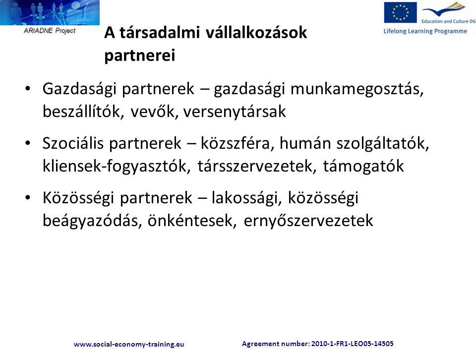 Agreement number: 2010-1-FR1-LEO05-14505 www.social-economy-training.eu ARIADNE Project A társadalmi vállalkozások partnerei • Gazdasági partnerek – g
