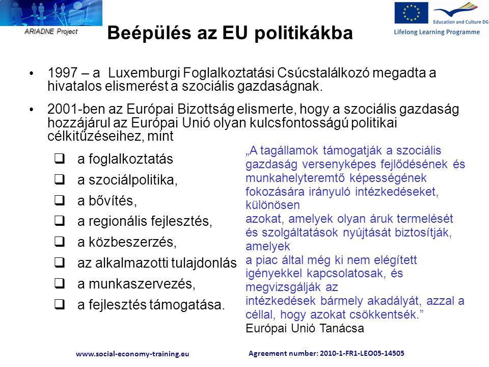 Agreement number: 2010-1-FR1-LEO05-14505 www.social-economy-training.eu ARIADNE Project Beépülés az EU politikákba • 1997 – a Luxemburgi Foglalkoztatá