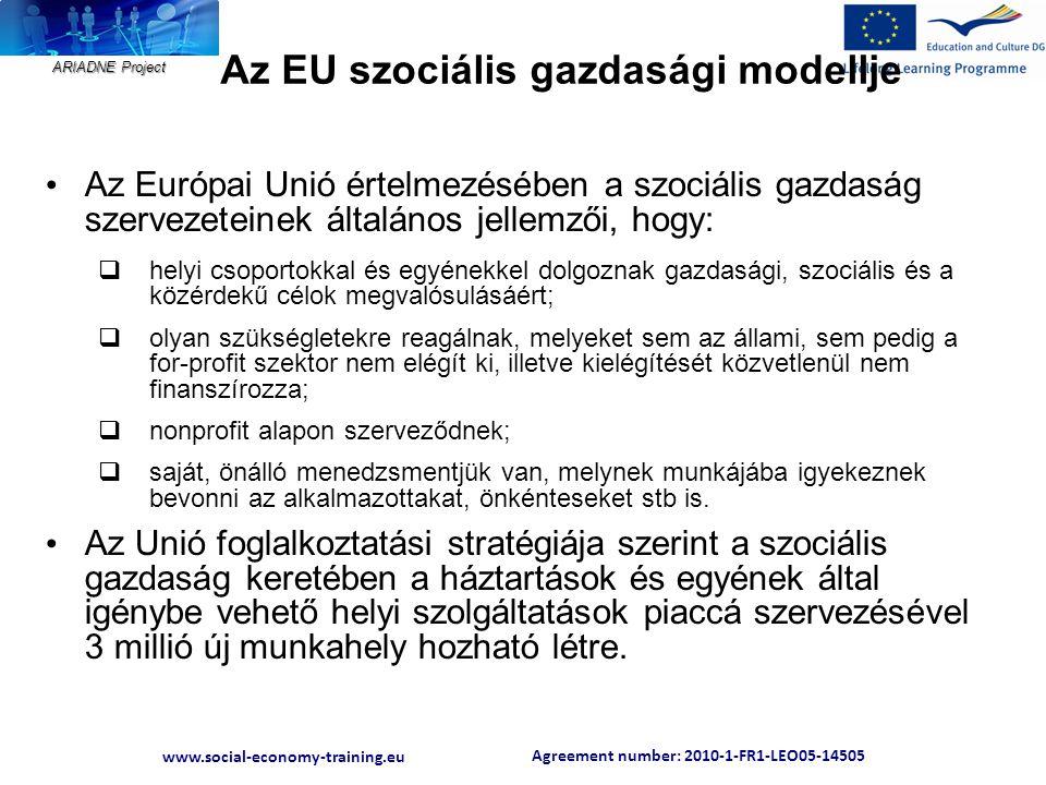 Agreement number: 2010-1-FR1-LEO05-14505 www.social-economy-training.eu ARIADNE Project Az EU szociális gazdasági modellje • Az Európai Unió értelmezé