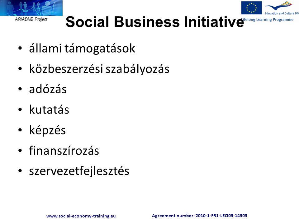 Agreement number: 2010-1-FR1-LEO05-14505 www.social-economy-training.eu ARIADNE Project Social Business Initiative • állami támogatások • közbeszerzés