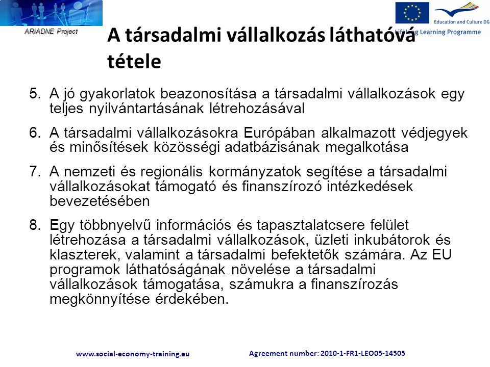 Agreement number: 2010-1-FR1-LEO05-14505 www.social-economy-training.eu ARIADNE Project A társadalmi vállalkozás láthatóvá tétele 5.A jó gyakorlatok b