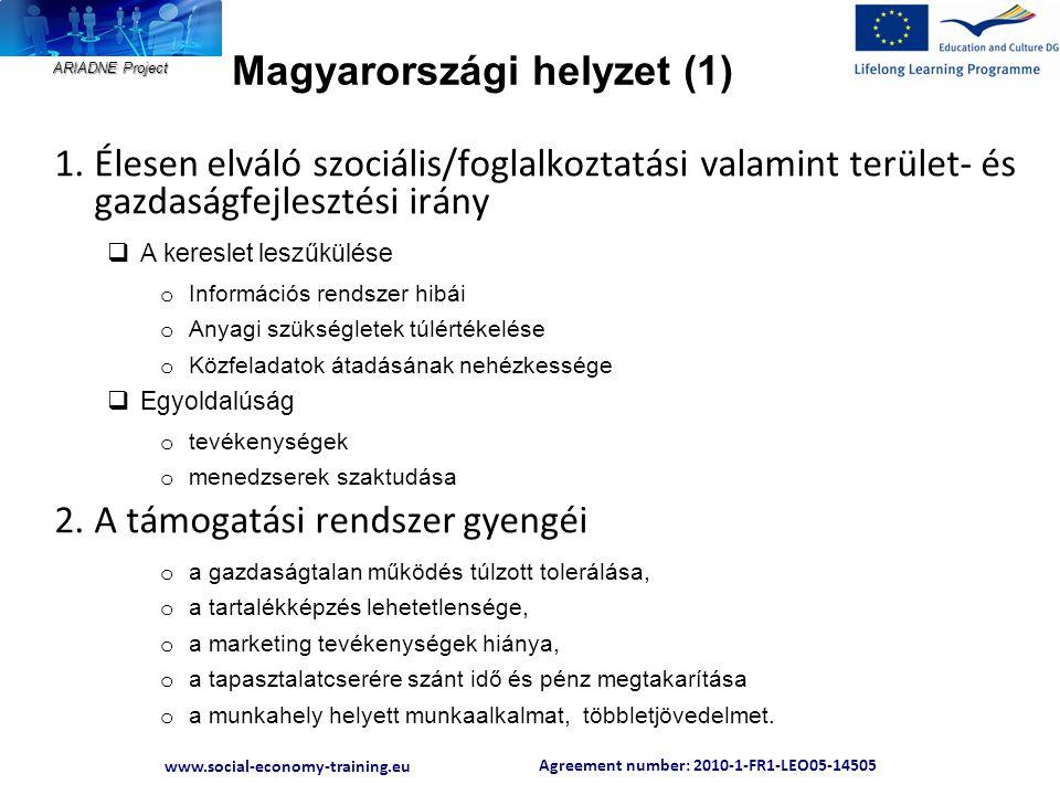 Agreement number: 2010-1-FR1-LEO05-14505 www.social-economy-training.eu ARIADNE Project Magyarországi helyzet (1) 1.Élesen elváló szociális/foglalkozt