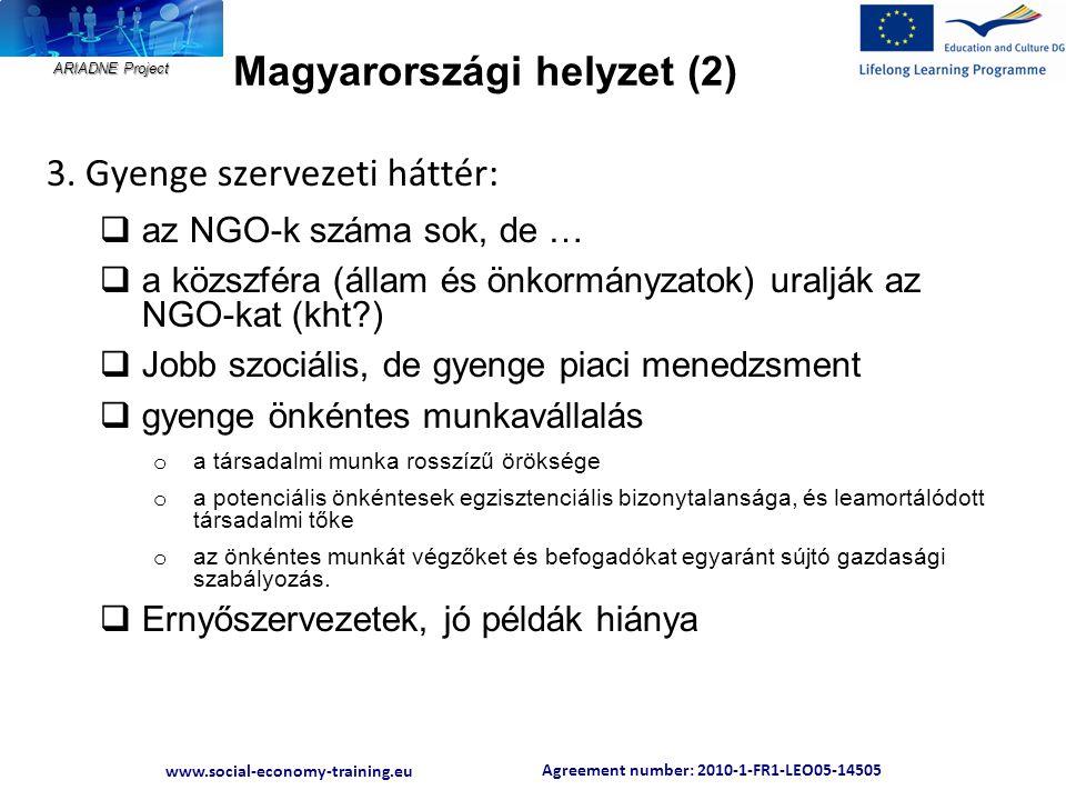 Agreement number: 2010-1-FR1-LEO05-14505 www.social-economy-training.eu ARIADNE Project Magyarországi helyzet (2) 3. Gyenge szervezeti háttér:  az NG