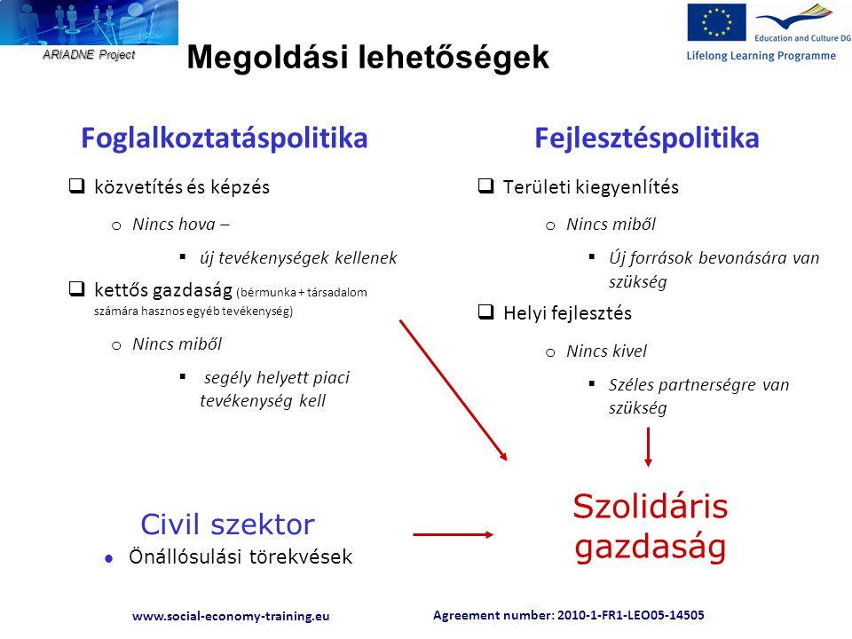 Agreement number: 2010-1-FR1-LEO05-14505 www.social-economy-training.eu ARIADNE Project Megoldási lehetőségek Foglalkoztatáspolitika  közvetítés és k