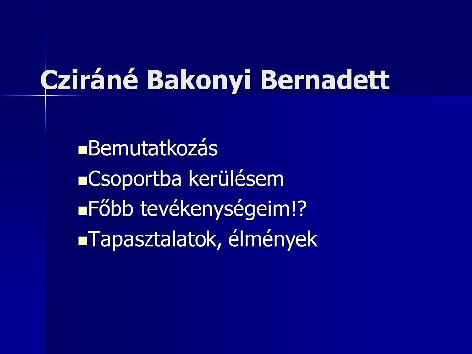 Cziráné Bakonyi Bernadett  Bemutatkozás  Csoportba kerülésem  Főbb tevékenységeim!.