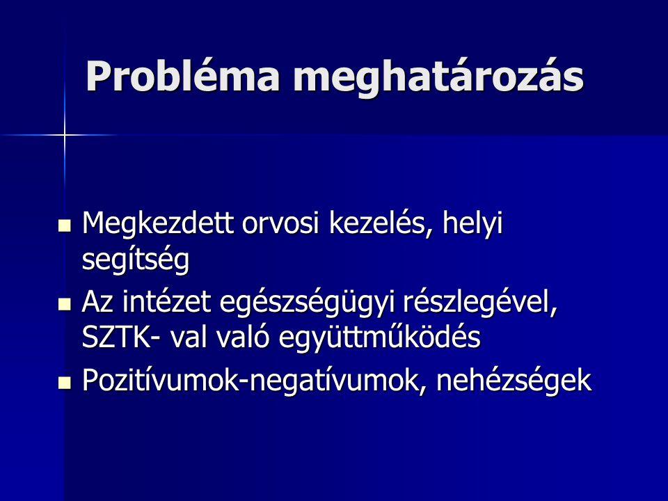 Probléma meghatározás  Megkezdett orvosi kezelés, helyi segítség  Az intézet egészségügyi részlegével, SZTK- val való együttműködés  Pozitívumok-negatívumok, nehézségek