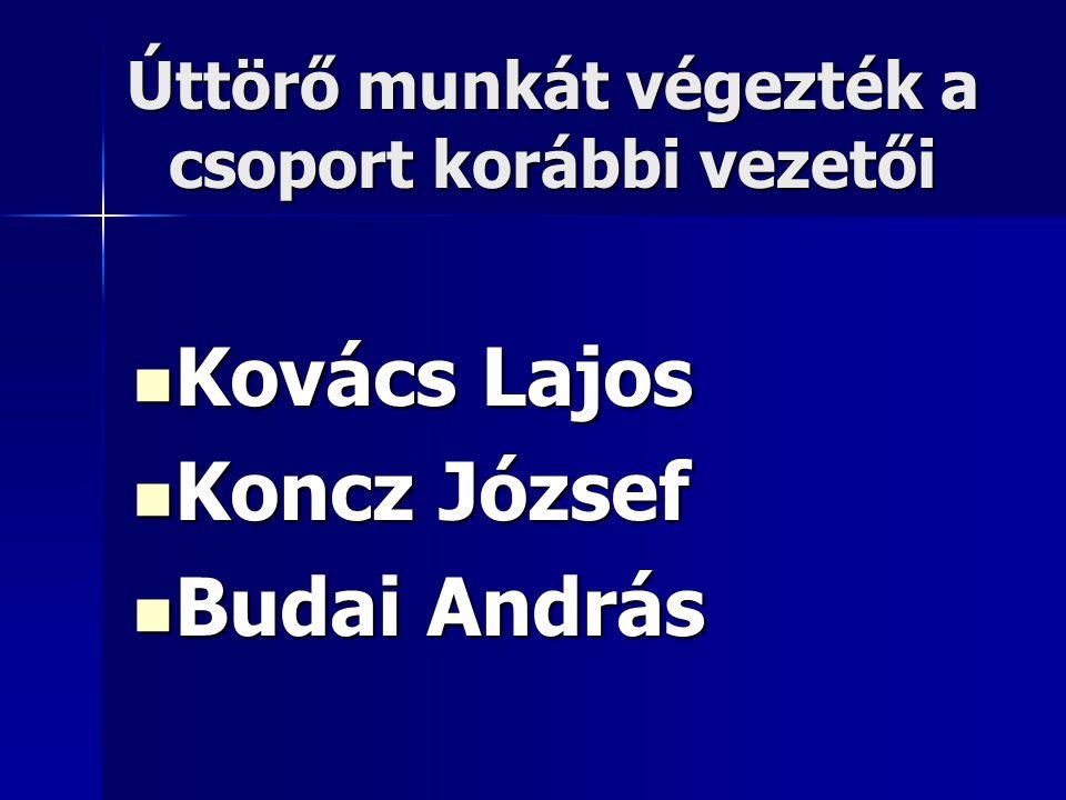 Úttörő munkát végezték a csoport korábbi vezetői  Kovács Lajos  Koncz József  Budai András