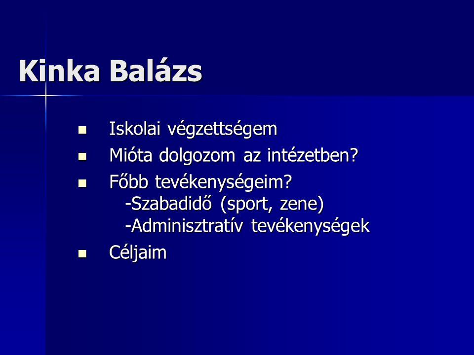 Kinka Balázs  Iskolai végzettségem  Mióta dolgozom az intézetben.