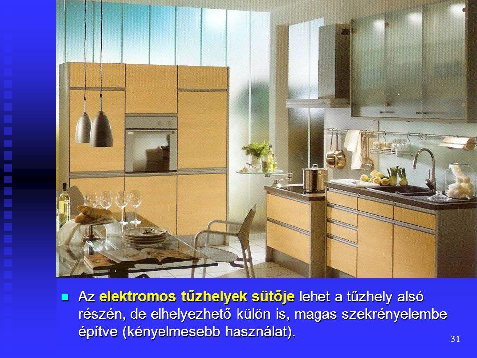 30  A kihúzható részt tartalmazó berendezések (tűzhely, mosogatógép) előtt legalább 120 cm, egyéb bútorok előtt legalább 90 cm széles használati zóná