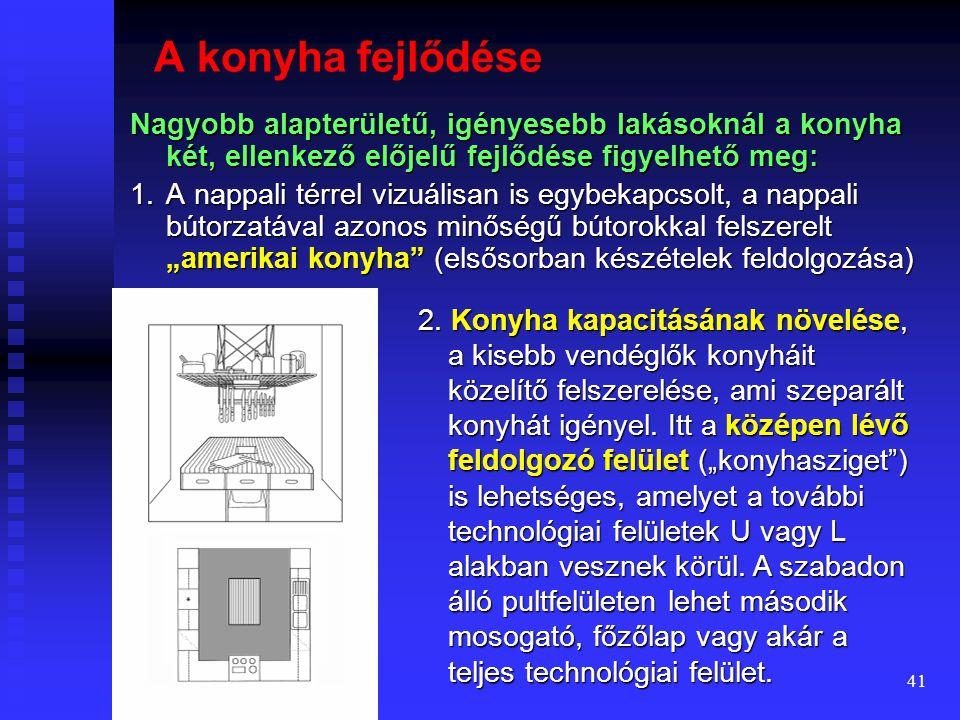 40  Az L és U alakú konyháknál a körülményesen használható sarokelemeknek többféle változata készülhet.  Tűzhely lehetőleg ne kerüljön falsarokba, m