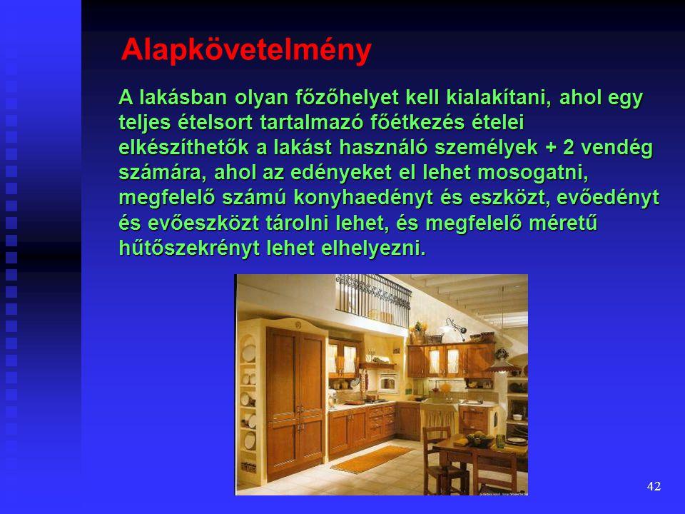41 A konyha fejlődése Nagyobb alapterületű, igényesebb lakásoknál a konyha két, ellenkező előjelű fejlődése figyelhető meg: 1.A nappali térrel vizuáli