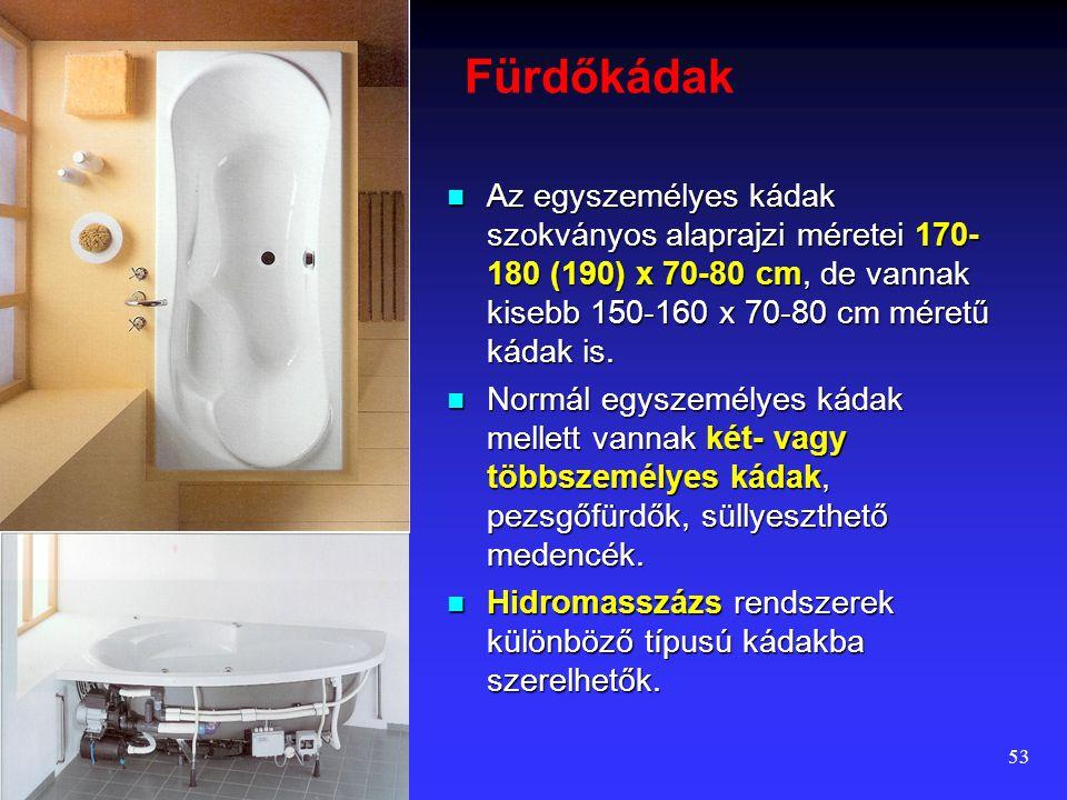 52 Zuhanyzó  A zuhanytál kényelmes, ajánlott mérete 90 x 90 cm. Kisebb zuhanytálak (75 x 80 cm) inkább fürdőkádak melletti kiegészítő elemként haszná