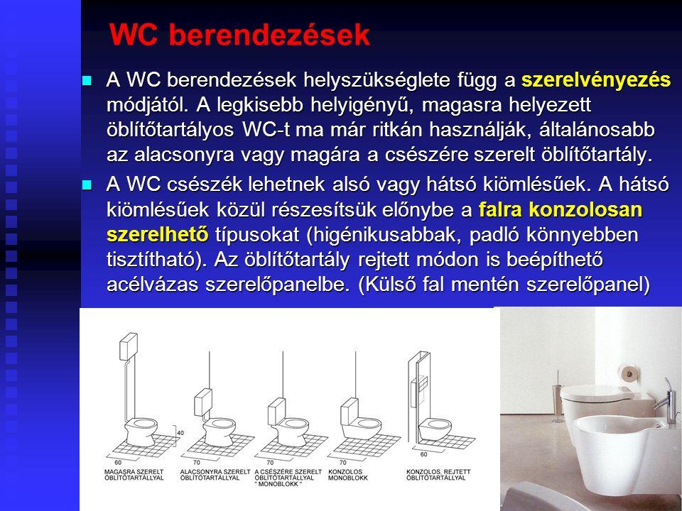 53 Fürdőkádak  Az egyszemélyes kádak szokványos alaprajzi méretei 170- 180 (190) x 70-80 cm, de vannak kisebb 150-160 x 70-80 cm méretű kádak is.  N