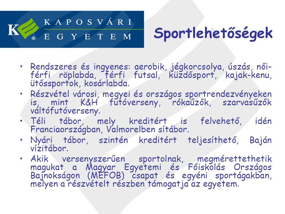 Sportlehetőségek •Rendszeres és ingyenes: aerobik, jégkorcsolya, úszás, női- férfi röplabda, férfi futsal, küzdősport, kajak-kenu, ütőssportok, kosárl
