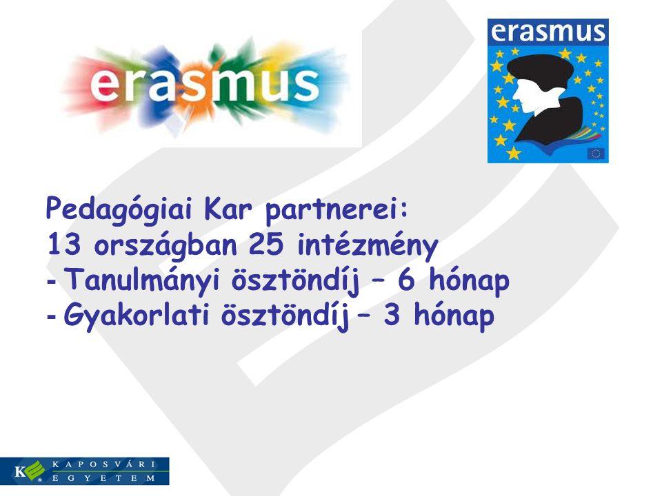 Pedagógiai Kar partnerei: 13 országban 25 intézmény - Tanulmányi ösztöndíj – 6 hónap - Gyakorlati ösztöndíj – 3 hónap