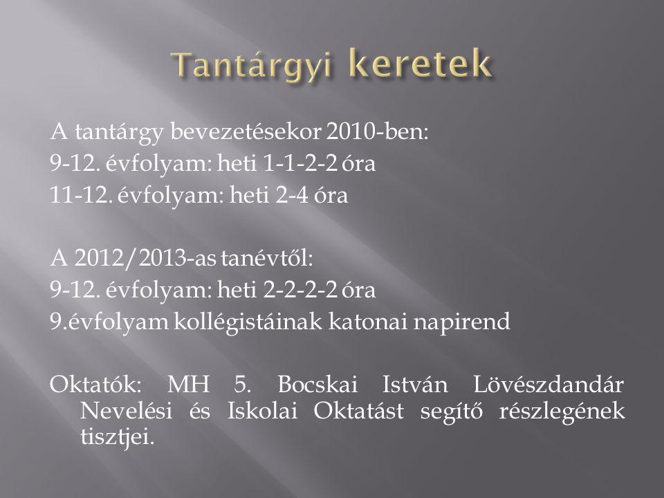 A tantárgy bevezetésekor 2010-ben: 9-12. évfolyam: heti 1-1-2-2 óra 11-12. évfolyam: heti 2-4 óra A 2012/2013-as tanévtől: 9-12. évfolyam: heti 2-2-2-