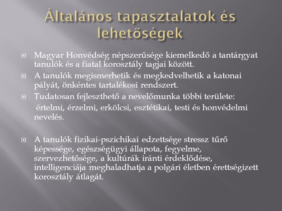  Magyar Honvédség népszerűsége kiemelkedő a tantárgyat tanulók és a fiatal korosztály tagjai között.  A tanulók megismerhetik és megkedvelhetik a ka