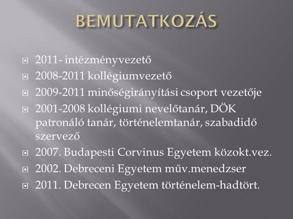  2011- intézményvezető  2008-2011 kollégiumvezető  2009-2011 minőségirányítási csoport vezetője  2001-2008 kollégiumi nevelőtanár, DÖK patronáló t