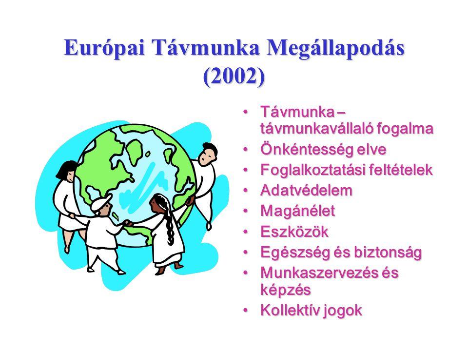 Európai Távmunka Megállapodás (2002) •Távmunka – távmunkavállaló fogalma •Önkéntesség elve •Foglalkoztatási feltételek •Adatvédelem •Magánélet •Eszköz