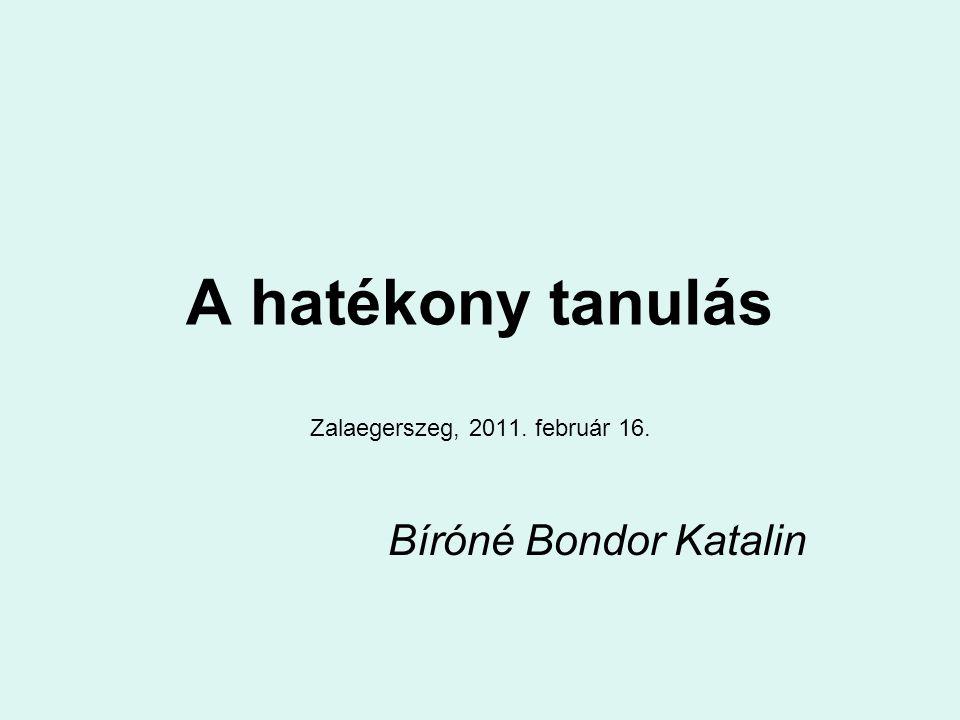 A hatékony tanulás Zalaegerszeg, 2011. február 16. Bíróné Bondor Katalin