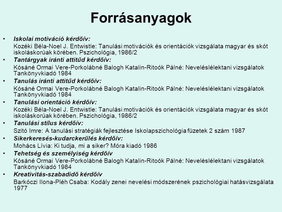 Forrásanyagok •Iskolai motiváció kérdőív: Kozéki Béla-Noel J. Entwistle: Tanulási motivációk és orientációk vizsgálata magyar és skót iskoláskorúak kö