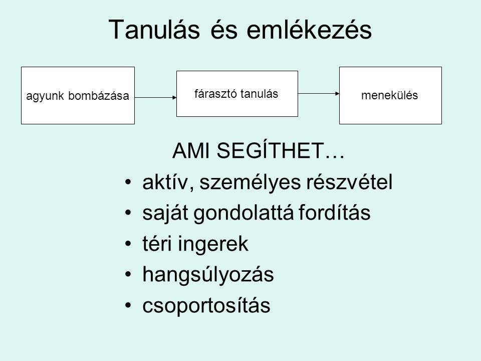 Tanulás és emlékezés AMI SEGÍTHET… •aktív, személyes részvétel •saját gondolattá fordítás •téri ingerek •hangsúlyozás •csoportosítás agyunk bombázása