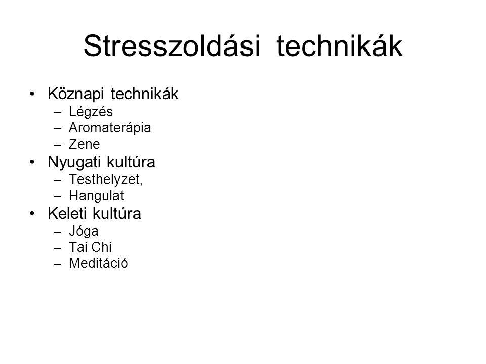 Stresszoldási technikák •Köznapi technikák –Légzés –Aromaterápia –Zene •Nyugati kultúra –Testhelyzet, –Hangulat •Keleti kultúra –Jóga –Tai Chi –Meditá