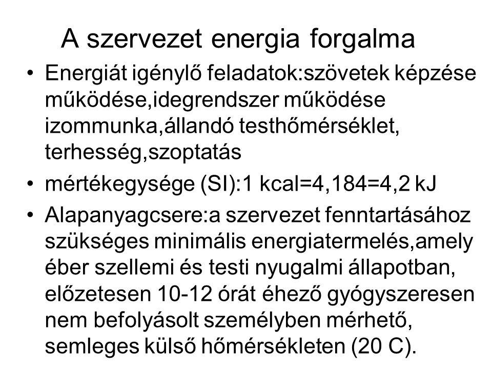 A szervezet energia forgalma •Energiát igénylő feladatok:szövetek képzése működése,idegrendszer működése izommunka,állandó testhőmérséklet, terhesség,