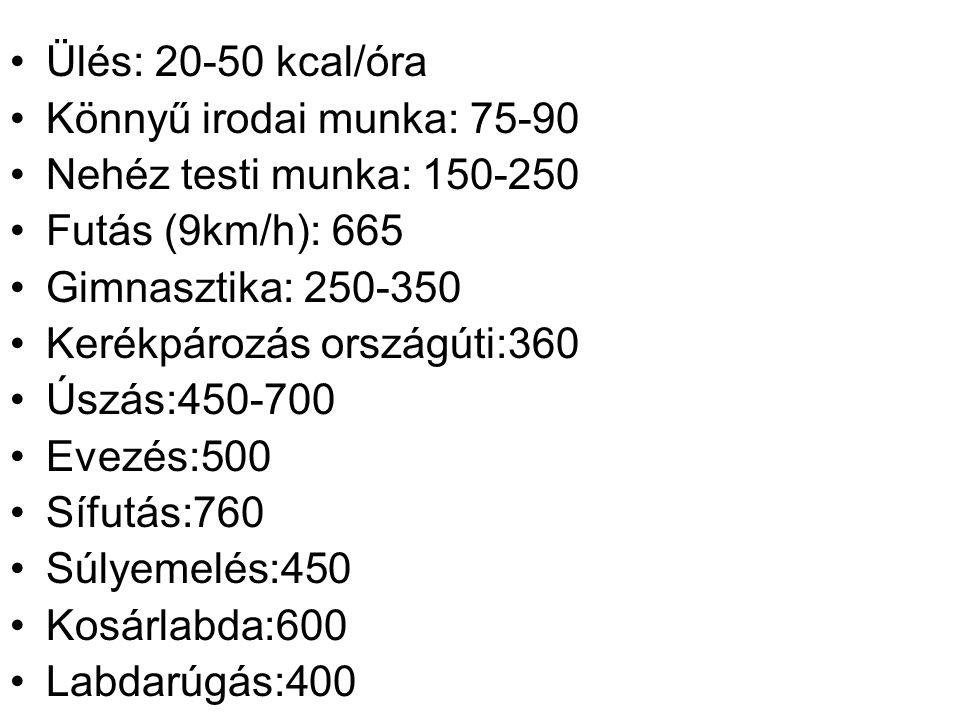 •Ülés: 20-50 kcal/óra •Könnyű irodai munka: 75-90 •Nehéz testi munka: 150-250 •Futás (9km/h): 665 •Gimnasztika: 250-350 •Kerékpározás országúti:360 •Ú