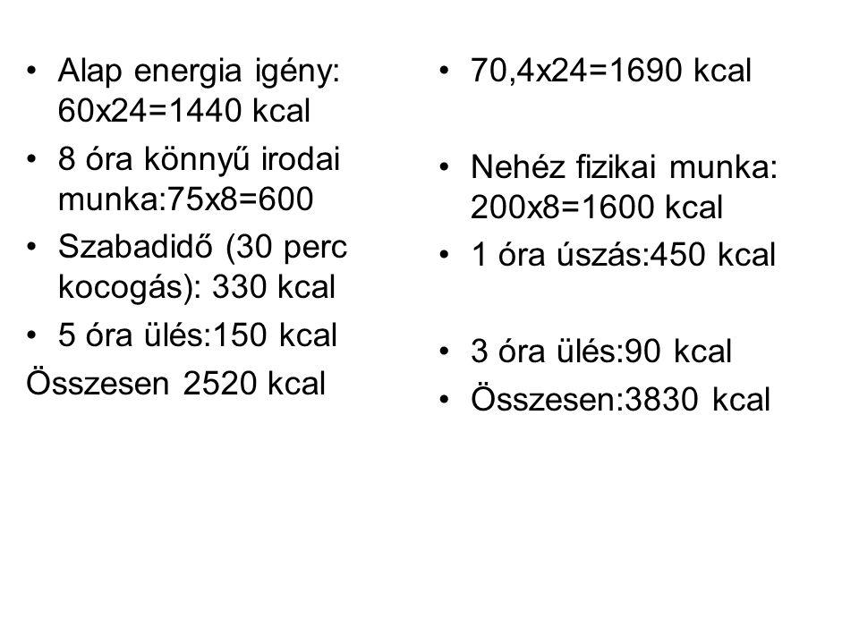 •Alap energia igény: 60x24=1440 kcal •8 óra könnyű irodai munka:75x8=600 •Szabadidő (30 perc kocogás): 330 kcal •5 óra ülés:150 kcal Összesen 2520 kca