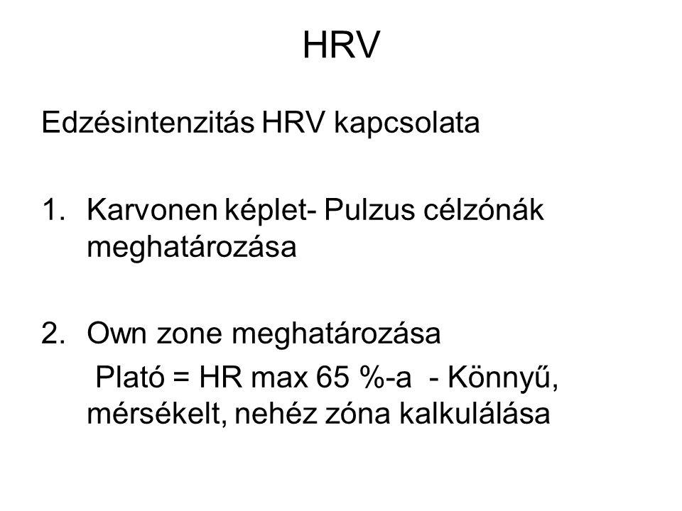 HRV Edzésintenzitás HRV kapcsolata 1.Karvonen képlet- Pulzus célzónák meghatározása 2.Own zone meghatározása Plató = HR max 65 %-a - Könnyű, mérsékelt