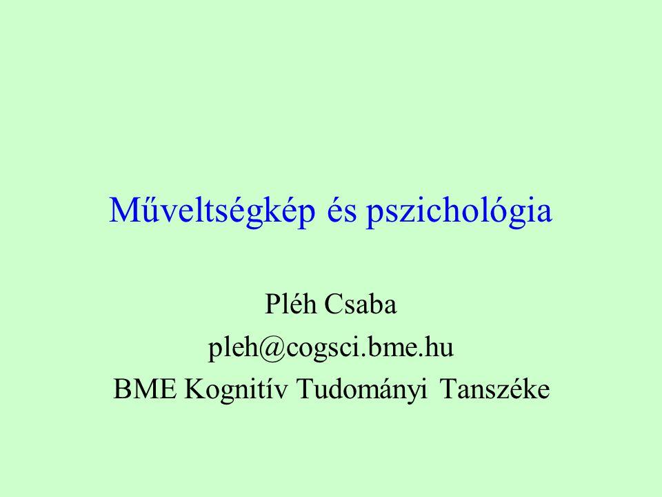 Műveltségkép és pszichológia Pléh Csaba pleh@cogsci.bme.hu BME Kognitív Tudományi Tanszéke