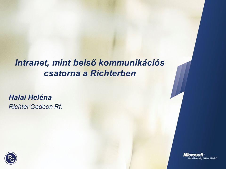 Intranet, mint belső kommunikációs csatorna a Richterben Halai Heléna Richter Gedeon Rt.