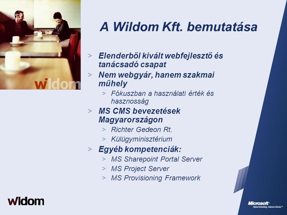 A Wildom Kft. bemutatása  Elenderből kivált webfejlesztő és tanácsadó csapat  Nem webgyár, hanem szakmai műhely  Fókuszban a használati érték és ha
