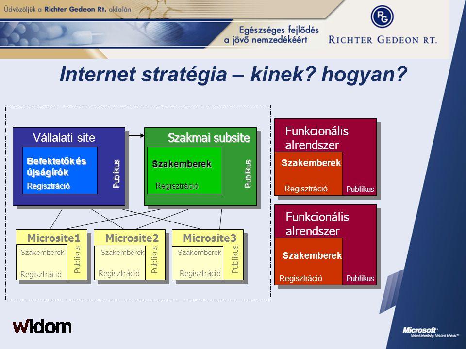 Internet stratégia – kinek? hogyan? Pub.Reg. Microsite2Microsite3 Regisztráció Microsite1 Szakemberek Funkcionális alrendszer Publikus Szakemberek Fun