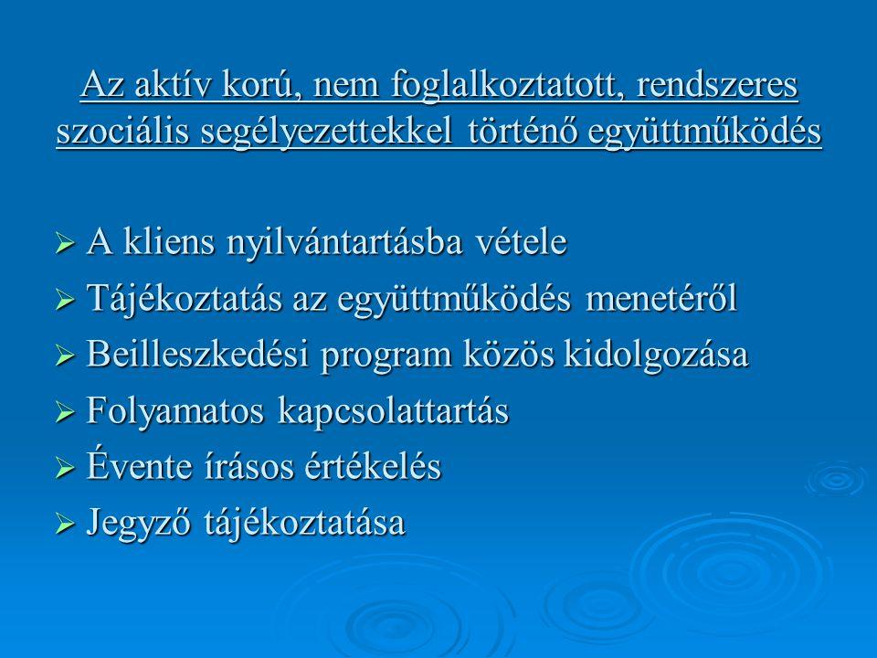 Az aktív korú, nem foglalkoztatott, rendszeres szociális segélyezettekkel történő együttműködés  A kliens nyilvántartásba vétele  Tájékoztatás az együttműködés menetéről  Beilleszkedési program közös kidolgozása  Folyamatos kapcsolattartás  Évente írásos értékelés  Jegyző tájékoztatása