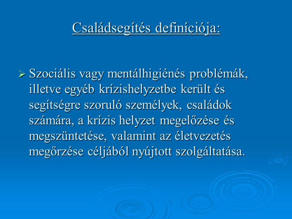 Családsegítés definíciója:  Szociális vagy mentálhigiénés problémák, illetve egyéb krízishelyzetbe került és segítségre szoruló személyek, családok számára, a krízis helyzet megelőzése és megszüntetése, valamint az életvezetés megőrzése céljából nyújtott szolgáltatása.