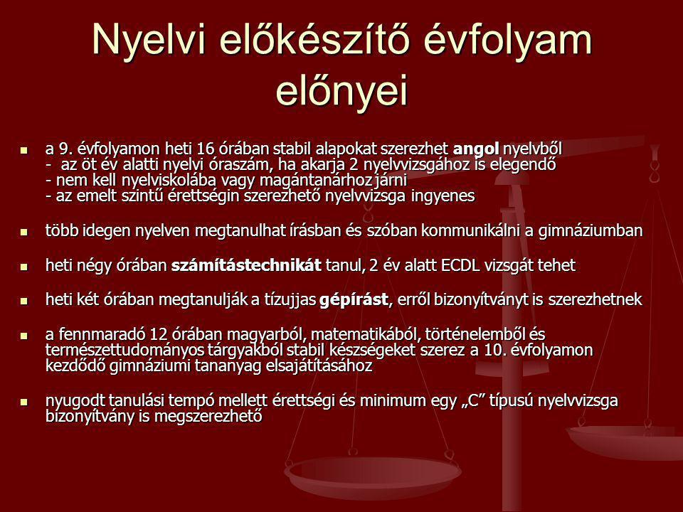 Nyelvi előkészítő évfolyam előnyei  a 9. évfolyamon heti 16 órában stabil alapokat szerezhet angol nyelvből - az öt év alatti nyelvi óraszám, ha akar