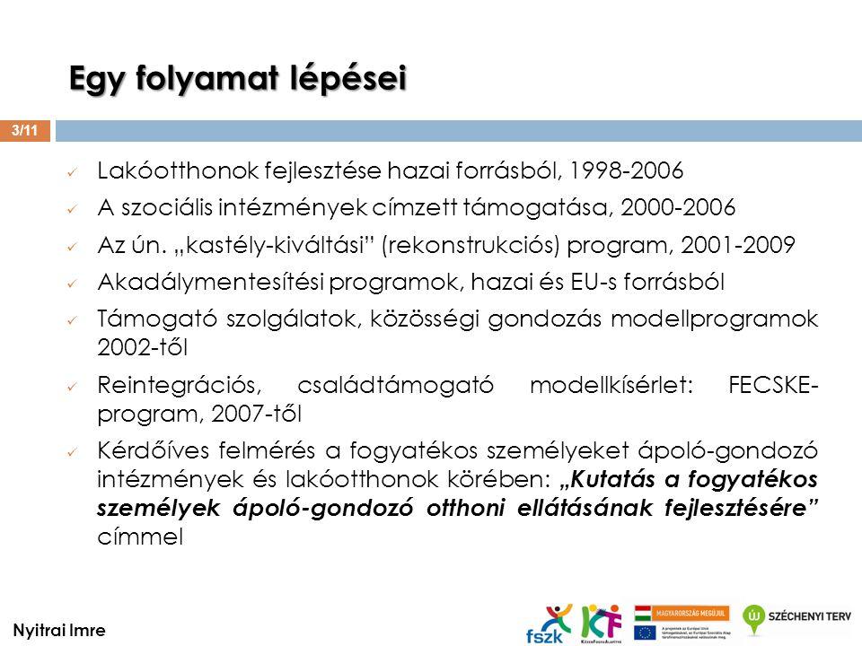  Lakóotthonok fejlesztése hazai forrásból, 1998-2006  A szociális intézmények címzett támogatása, 2000-2006  Az ún.