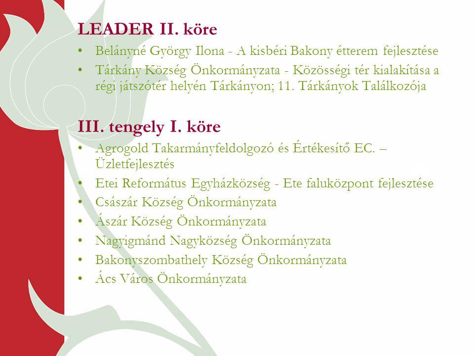 LEADER II. köre •Belányné György Ilona - A kisbéri Bakony étterem fejlesztése •Tárkány Község Önkormányzata - Közösségi tér kialakítása a régi játszót