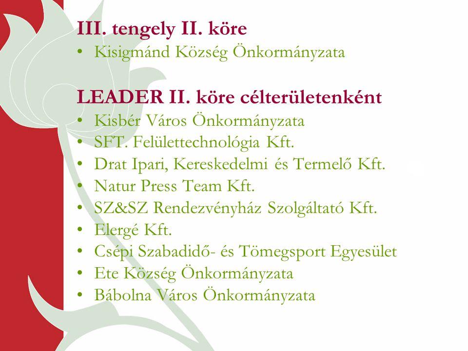 III. tengely II. köre •Kisigmánd Község Önkormányzata LEADER II. köre célterületenként •Kisbér Város Önkormányzata •SFT. Felülettechnológia Kft. •Drat