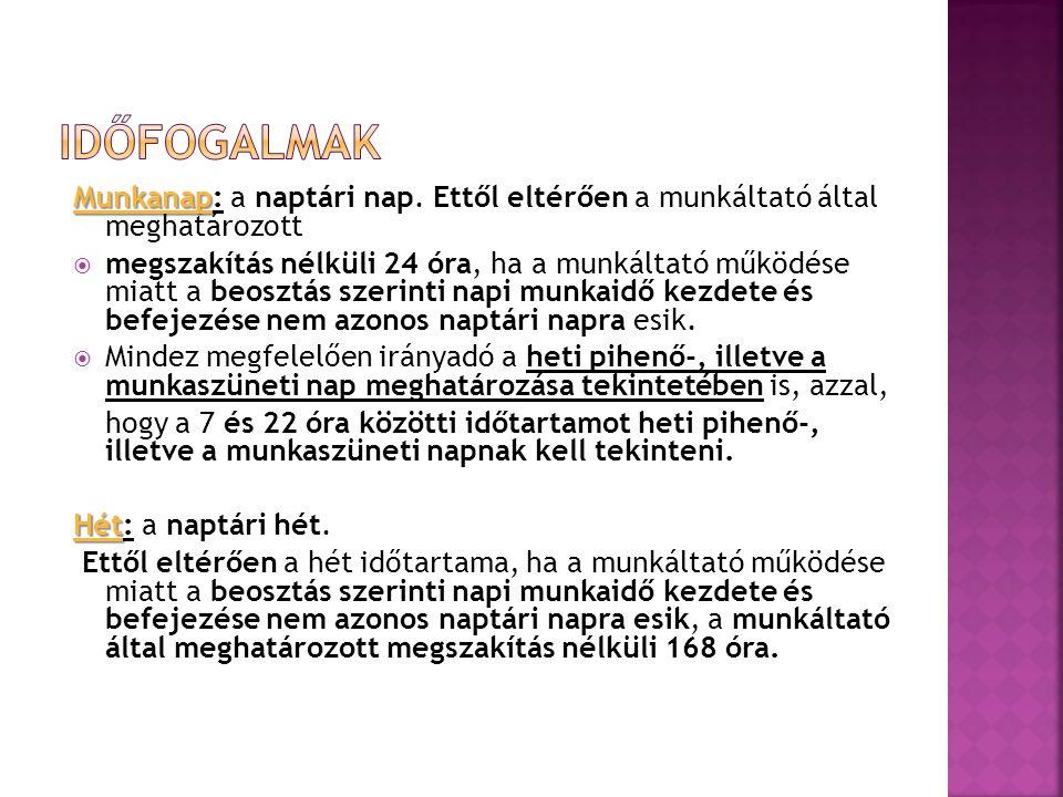 Munkanap Munkanap: a naptári nap.