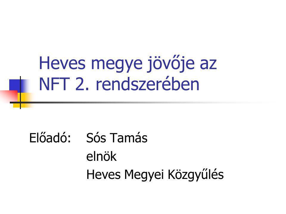 Heves megye jövője az NFT 2. rendszerében Előadó: Sós Tamás elnök Heves Megyei Közgyűlés