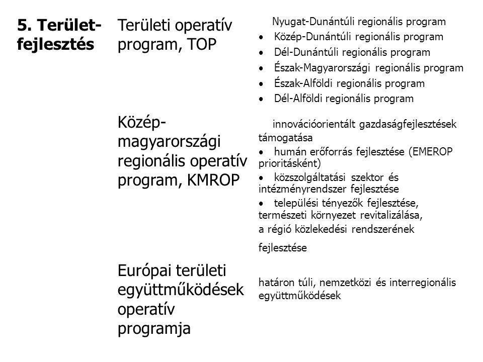 5. Terület- fejlesztés Területi operatív program, TOP Nyugat-Dunántúli regionális program  Közép-Dunántúli regionális program  Dél-Dunántúli regioná