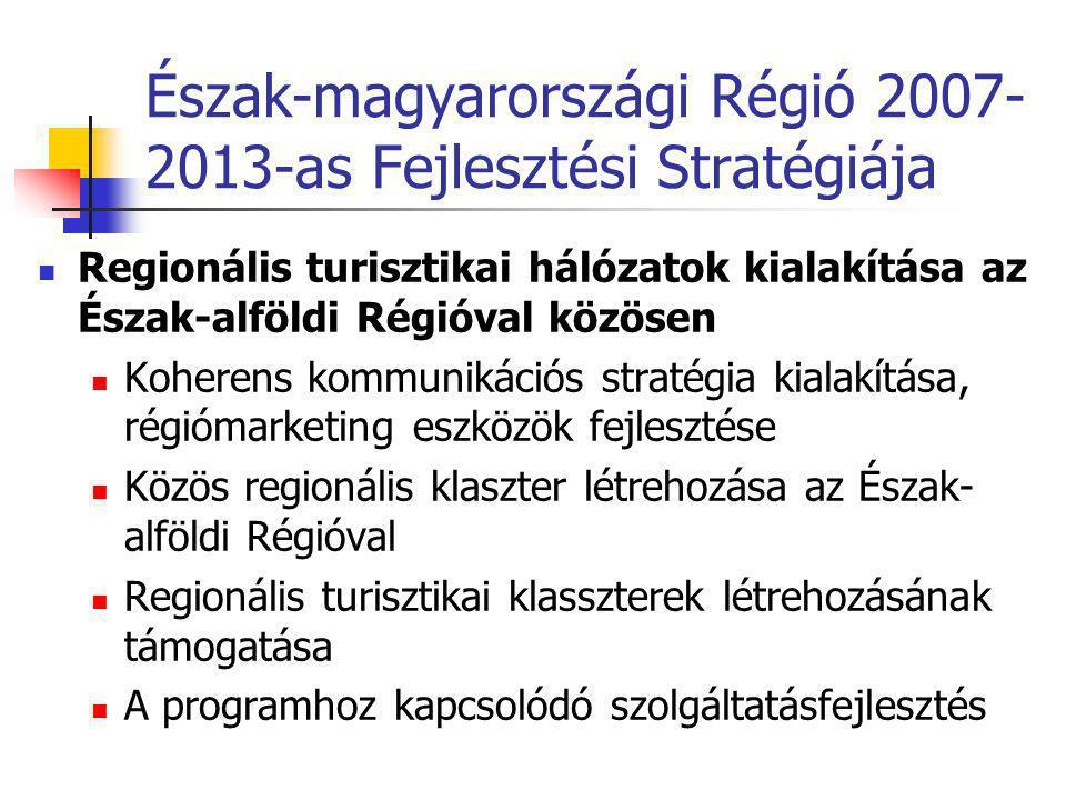 Észak-magyarországi Régió 2007- 2013-as Fejlesztési Stratégiája  Regionális turisztikai hálózatok kialakítása az Észak-alföldi Régióval közösen  Koherens kommunikációs stratégia kialakítása, régiómarketing eszközök fejlesztése  Közös regionális klaszter létrehozása az Észak- alföldi Régióval  Regionális turisztikai klasszterek létrehozásának támogatása  A programhoz kapcsolódó szolgáltatásfejlesztés